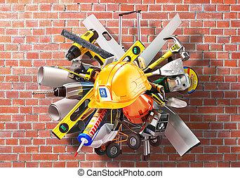 casco, alrededor, concept., ilustración, fondo., construcción, ladrillo, herramientas, 3d