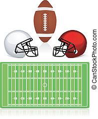 casco, americano, palla, campo, football