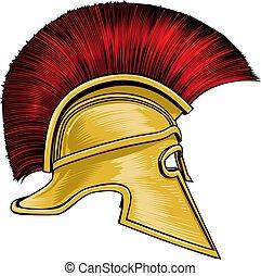 casco, antico, guerriero, spartan, greco, gladiator