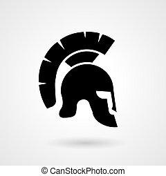 casco, antiguo, silueta, griego, romano, o