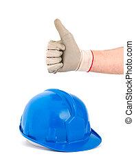 casco, aprobar, positivity, mano, seguridad, expresar, símbolo
