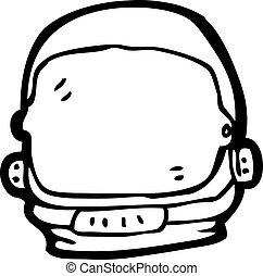 casco, astronauta, caricatura