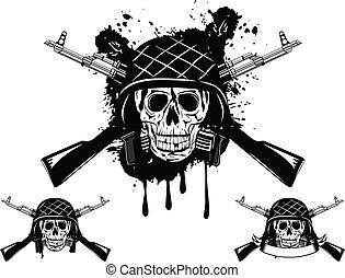 casco, automático, cráneo