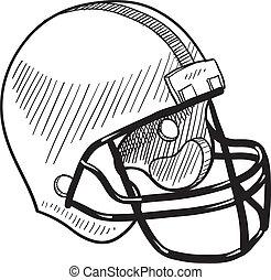 casco, bosquejo, fútbol