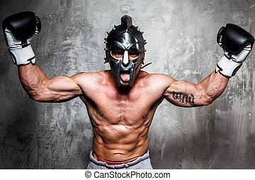 casco, boxeo, joven, posar, guantes, gladiator, hombre