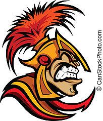 casco, cabeza, romano, centurion, vector, caricatura