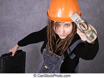 casco, chaleco, herramienta, seguridad, tenencia, naranja, niña, martillo