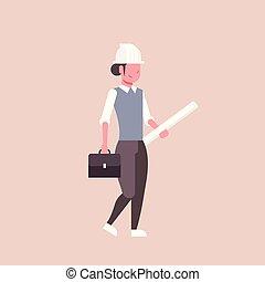 casco, cianografie, concetto, presa a terra, donna, rotolato, industria, su, appartamento, progetto, lunghezza, pieno, architetto, femmina, panoramica, professionale, costruzione, ingegnere, felice, occupazione
