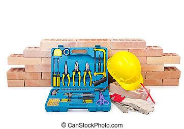 casco, construcción, concepto, juego herramientas