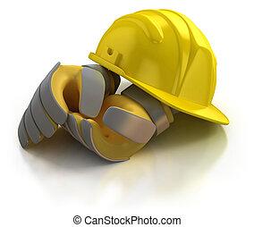 casco, construcción, guantes
