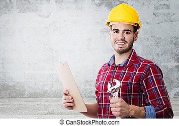 casco, construcción, herramientas, profesional