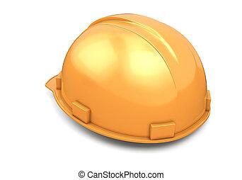 casco, construcción, visión trasera
