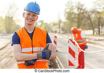 casco, constructor, feliz