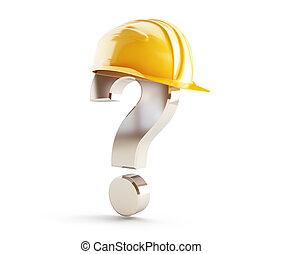casco, costruzione, punto interrogativo