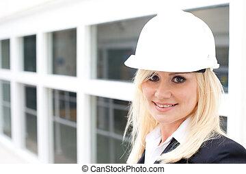 casco, costruzione, ritratto donna