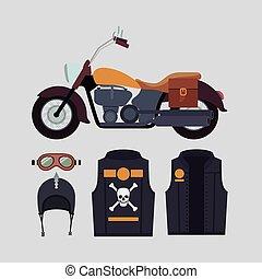 casco, cráneo, clásico, luz, símbolo, chaqueta amarilla, motocicleta, plano de fondo, huesos, cian