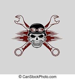 casco, cranio, fiamme, wrenches