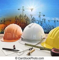 casco de seguridad, en, arquitecto, trabajando, tabla, con, edificio moderno, y, grúa, construcción, plano de fondo, uso, para, construcción, empresa / negocio, y, ingeniería civil, propiedad, topic