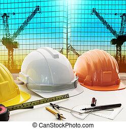 casco de seguridad, en, arquitecto, trabajando, tabla, con, moderno, b