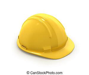 casco, duro, amarillo, plástico, sombrero, o