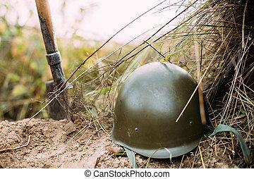 casco, ejército, infantería, metal, soldado, ruso, durante,...
