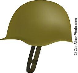 casco, estilo, ejército, mockup, realista, lado