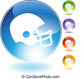 casco, fútbol, cristal, icono