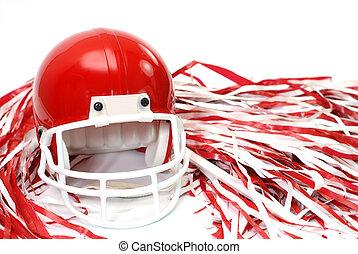 casco, fútbol, rojo, p