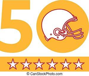 casco, football, pro, campionato, domenica, 50