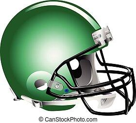 casco, football, verde