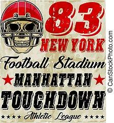 casco, gioco, football, americano, cranio