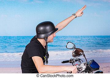 casco, giovane, bicicletta, fare il saluto militare, uomo, cavalcate, lui