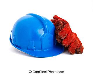 casco, guantes de seguridad