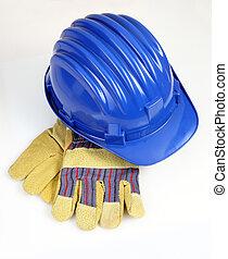 casco, guantes, plano de fondo