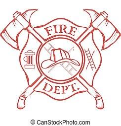 casco, hachas, fuego,  vector,  dept, etiqueta, cruzado