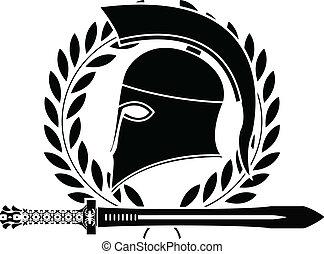 casco, helénico, espada, fantasía