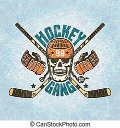 casco, -, hockey, cranio, logotipo
