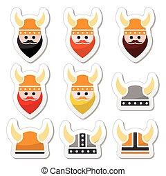 casco, icone, viking, set, guerriero