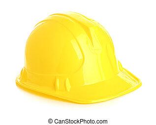 casco, isolato, giallo