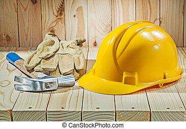 casco, lavorativo, ane, cuoio, giallo, guanti, martello artiglio