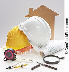 casco, lavorativo, attrezzo, scrittura, ingegneria, sicurezza, tavola