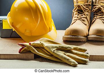casco, lavorativo, cuoio, giallo, costruzione, guanti, stivali, toolbox