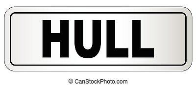 casco, letrero nombre, ciudad