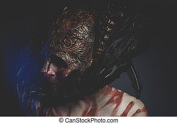 casco, luchador, protector, oro, formas, fantasía, viking, geométrico, mago