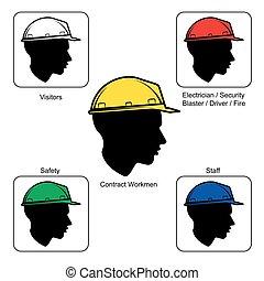 casco, -, luogo, colori, costruzione, sicurezza, avvertimento