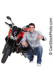 casco, moto, hombre