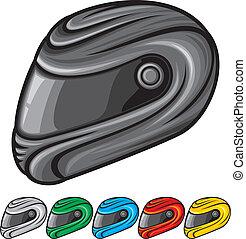 casco, motocicleta, ilustración
