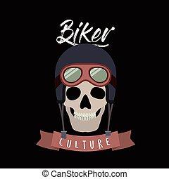 casco, motociclista, cráneo, cartel, cultura, biker, fondo negro, anteojos