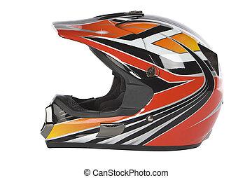 casco, motocross, motocicleta