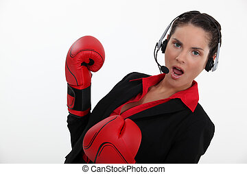 casco, mujer, guantes, boxeo